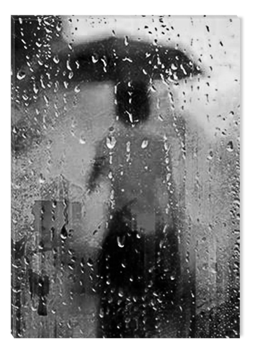 Startonight Canvas Wall Art Black and White Abstract Lady and Umbrella on the Rain, Dual View Surprise Artwork Modern Framed Ready to Hang Wall Art 100% Original Art Painting 31.5 x 47.2 inch by Startonight