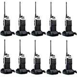 Retevis RT7 Two Way Radio UHF 5W 16 Channels FM Single Band Walkie Talkie Radio with USB Charger and Headset (Black,10pcs)