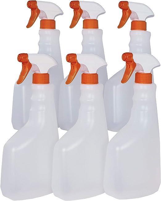 Super Net Cali Botella pulverizador vaporizador de plástico. 750 ml. Spray rellenable para jardín, Limpieza, Industria, hogar y Profesional. Resistente Productos químicos. (6 Unidades, Traslúcido): Amazon.es: Jardín