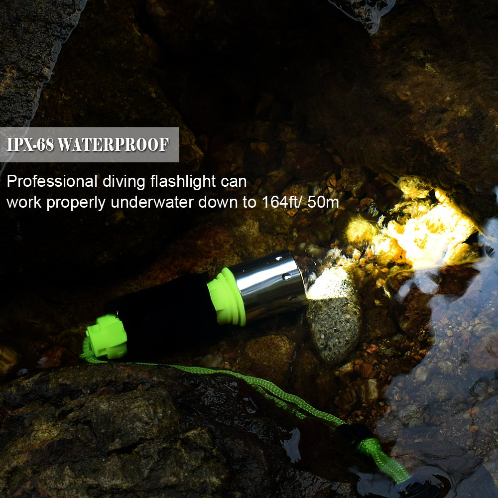 800 Lumen LED Dive Light Rechargeable PFSN Professional Scuba Diving Flashlight Underwater 50m Waterproof Best for Expert Diving at Night Snorkeling Caving Fishing(18650 Battery and Charger Included) by PFSN professioner (Image #2)
