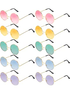 d630f0c60436 Blulu 10 Pairs Round Hippie Sunglasses John 60 s Style Circle Colored  Glasses