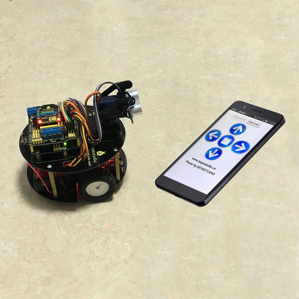 Keyestudio Smart Turtle Rc Car Toy For Arduino Line Servo Wiring Diagram Also Xbee On Robot Tracking Ultrasonic Obstacle Avoidance Sensor Infrared Remote
