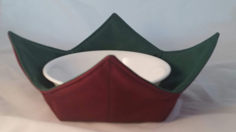 Microwave Bowl Cozy 3 pc Set Burgundy//Dk.Green Reversible Handmade