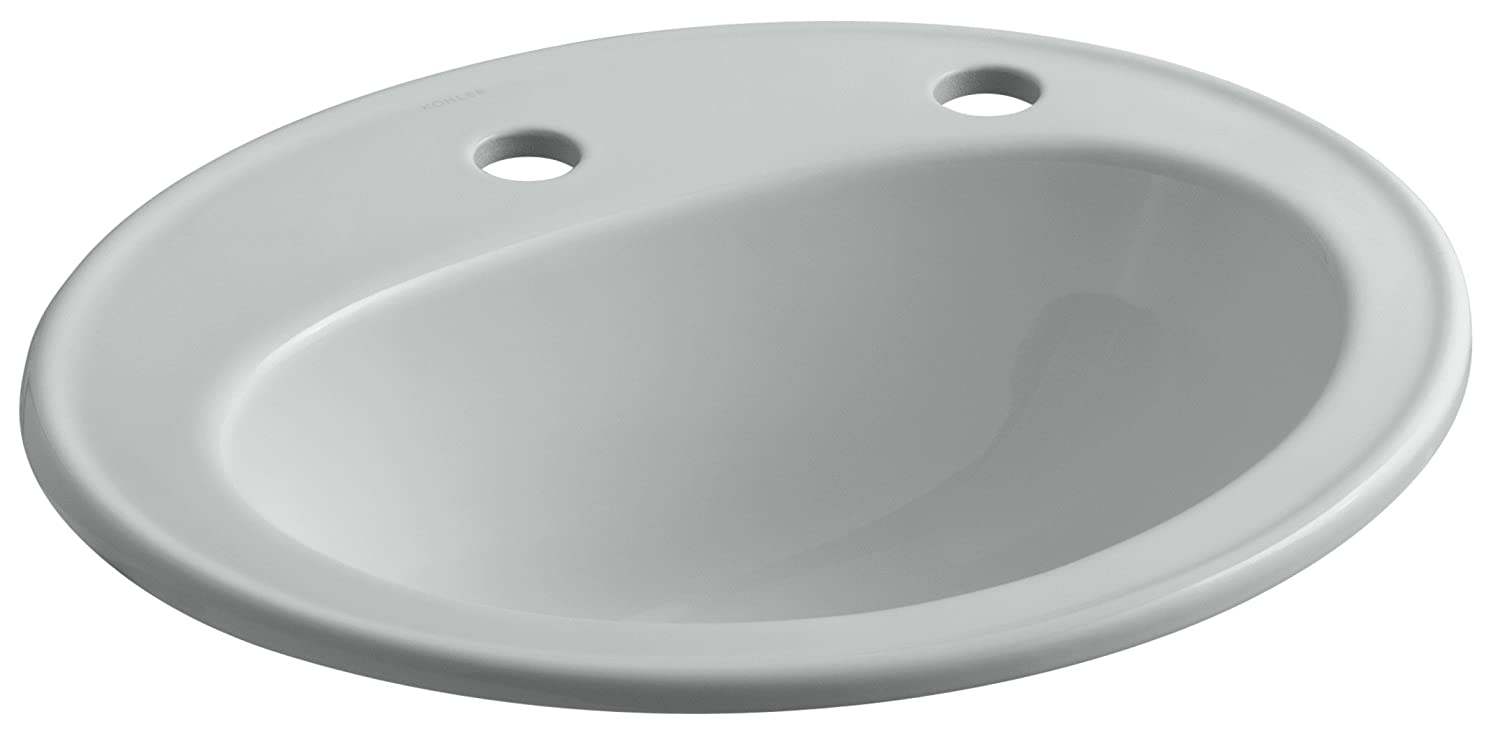 KOHLER K-2196-1R-95 Pennington Self-Rimming Bathroom Sink with Single-Hole Faucet Drilling and Right-Hand Soap Lotion Dispenser Hole Drilling, Ice Grey