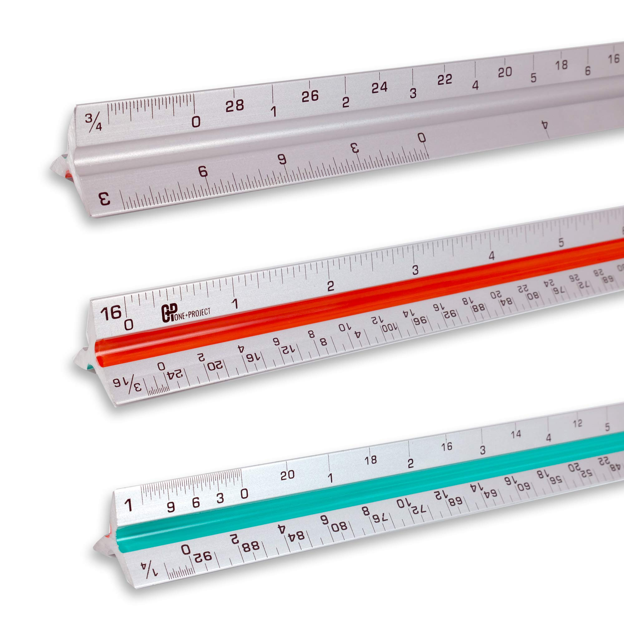 One+Project Triangular Architect Scale,12 – Inch Aluminum Ruler Color – Code Grooves with Protective Carrying Case - Imperial Measurements by One+Project (Image #1)