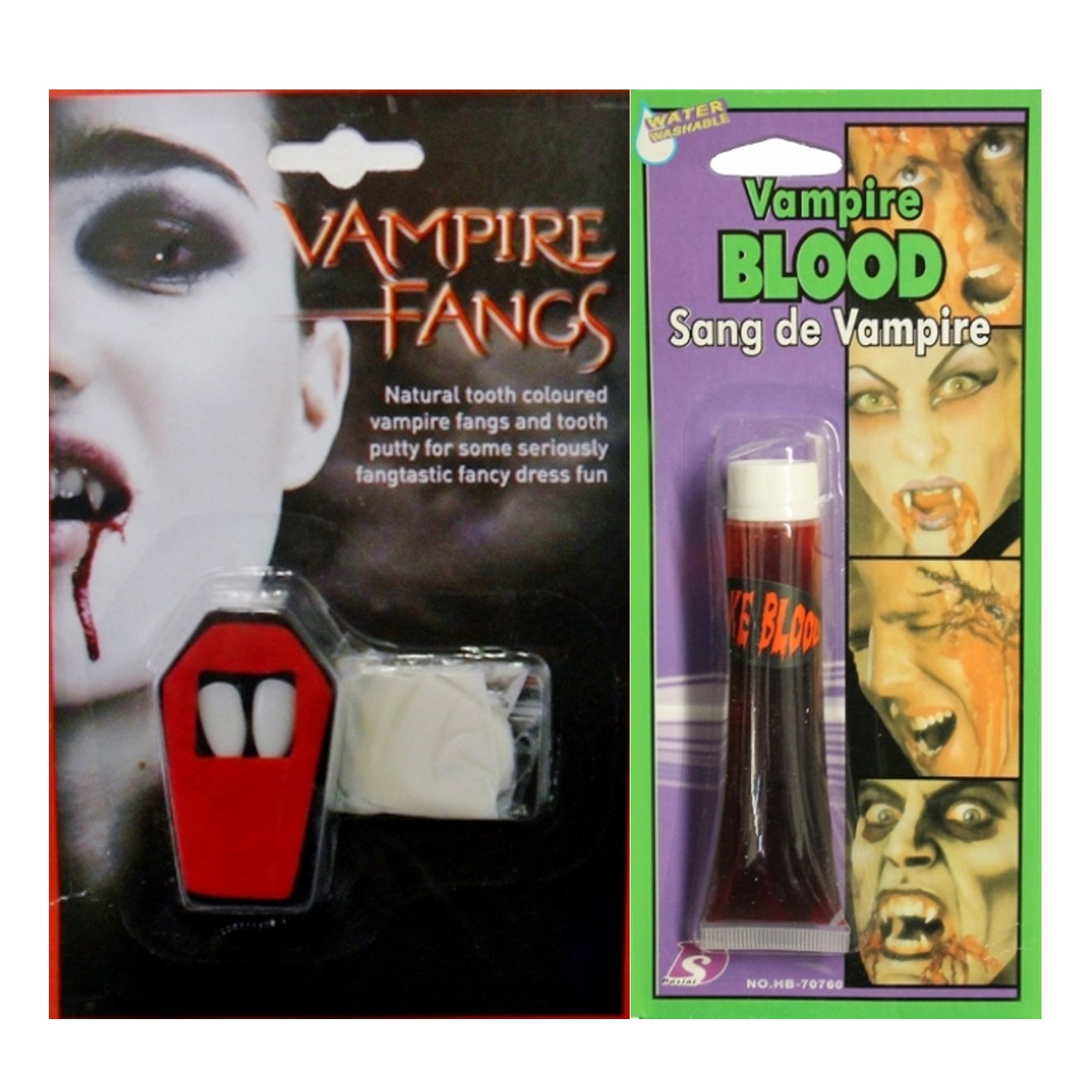 HALLOWEEN VAMPIRE FANGS CAPS TEETH PUTTY DRACULA FANCY DRESS FAKE BLOOD DEVIL