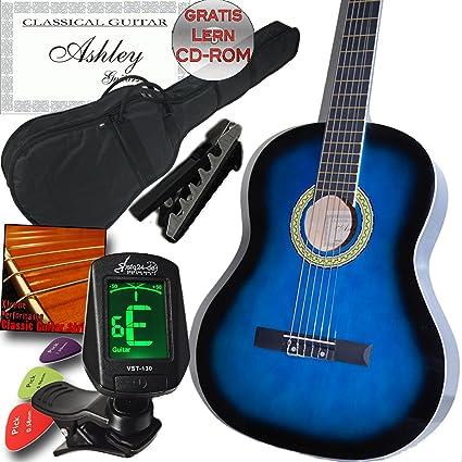 Ashley zurdos escolar y principiantes Guitarra clásica azul Set de ...