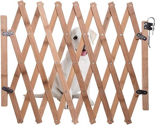 Jannyshop Barrera de Seguridad de Madera para Mascotas Plegable Retractable 60-110cm para Casa, Entrada, Escaleras: Amazon.es: Productos para mascotas