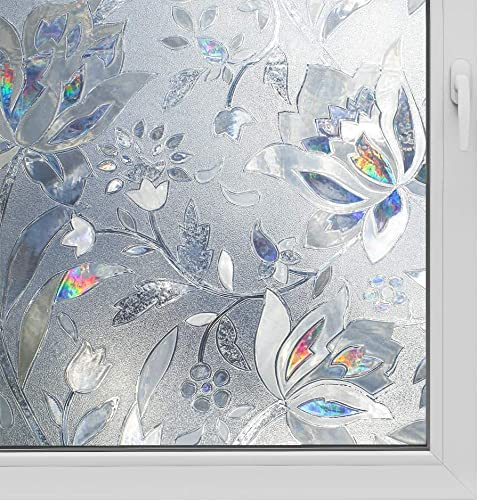 3D Window Film No Glue Privacy for Glass Sticker Static Cling Heat Control Anti UV Non-Adhesive Decorative Tulip 35.4 Inch x 13.1 Feet