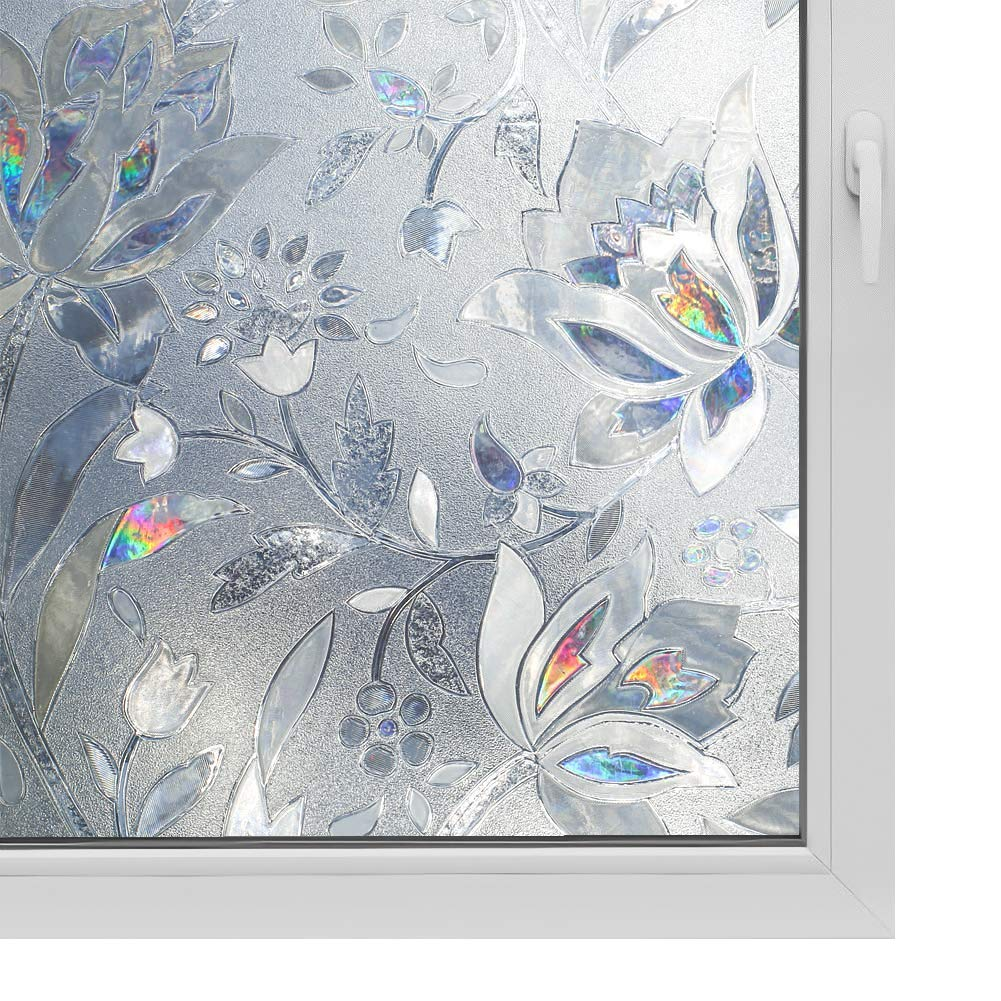 3D Window Film No Glue Privacy for Glass Sticker Static Cling Heat Control Anti UV Non-Adhesive Decorative Tulip 35.4 Inch x 13.1 Feet by WPCTEV