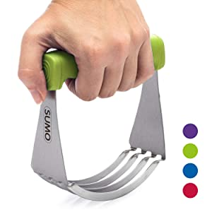 SUMO Dough Blender: Sturdy Heavy Duty Pastry Cutter - Sharp Blades - Comfortable Finger-Contoured Grip - Dishwasher Safe [Green]