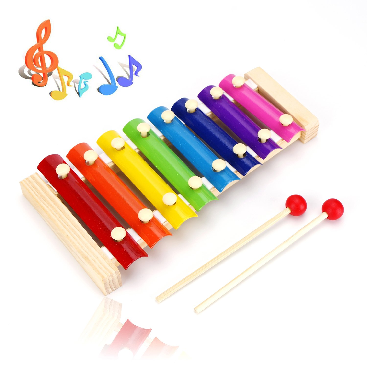 USATDD Wooden Xylophone Baby Musical Toy Instrument Piano with 8 Colored Bright Metal Keys and 2 Child-Safe Mallets for Kids Toddlers Boys Grils Inspire Children's Talent for Music
