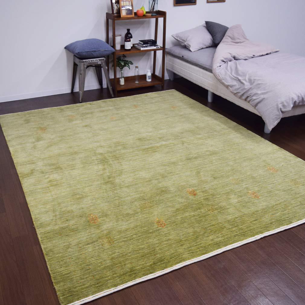 ラグ ラグマット ギャベラグ ロリギャベ 約140×200cm グリーン LR-5 ウール100% 羊毛 インド製 おしゃれ プレーン シンプル ナチュラル ギャッベ 緑 黄緑 大きめ   B07M59XXJ7