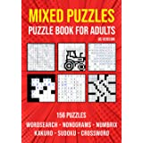 Variety Activity Puzzle Book for Adults: Sudoku, Nonogram, Word Search, Crossword, Kakuro & Numbrix Mixed Puzzlebook   US Ver