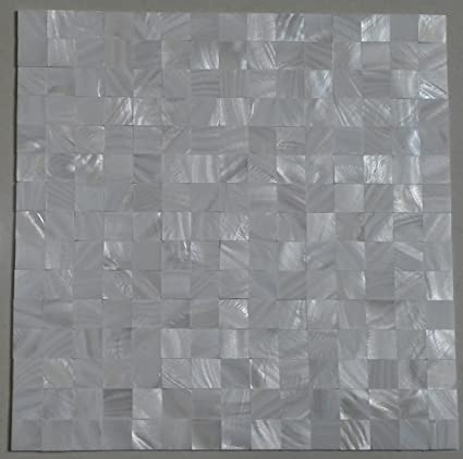 Amazon.com: 11PCS groutless white square mother of pearl shell ...