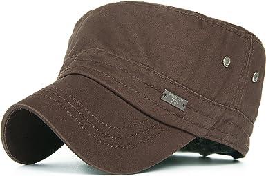 Men Vintage Washed Cotton Snapback Hat Stylish Flat Top Miltry Caps