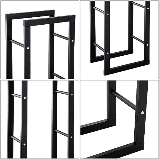 40L x 25l x 100H cm m/étal Noir Homcom Etag/ère Porte Bois de chemin/ée Porte-b/ûches Design Contemporain Charge Max 100 Kg dim