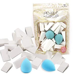 Revele Beauty Blender Value bag Contains 24 Cosmetic Sponges and Two Blending Sponges