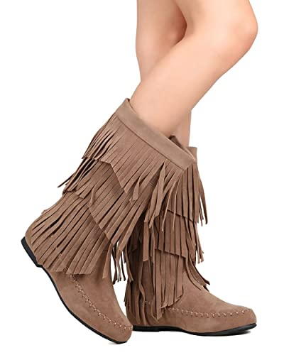 FI10 Women Faux Suede Mid Calf Cascading Fringe Moccasin Boot