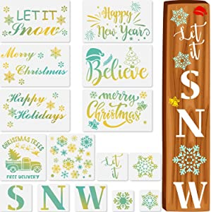 Zonon 15 Pieces Let It Snow Stencils Porch Sign Stencil for Painting on Wood, Reusable Christmas Stencils for Winter Home Decor Craft Art