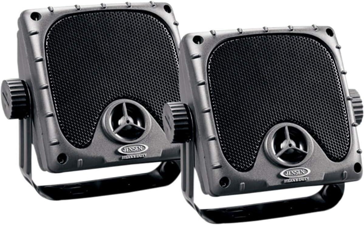 JENSEN JXHD35 Heavy Duty 3.5 MINI Weatherproof Surface Mount Speakers Black 1 Pair Renewed