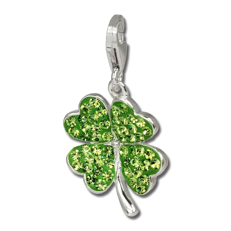 SilberDream scintillement bijoux - Charm feuille de trèfle - Femme - Argent 925/1000 - Cristaux Swarovski shiny - scintillement Charms - GSC215G