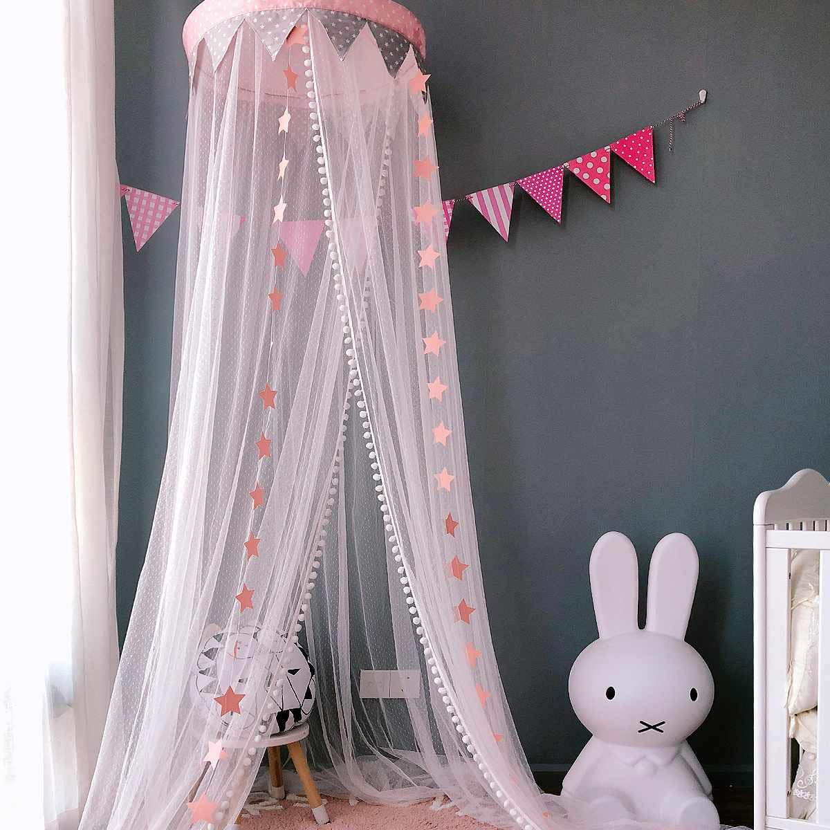 Dix-Rainbow Bed Canopy Mosquito Net Baby Crib Kids Twin Full Queen Size Bed, Reading Nook for Girls and Boys, Princess Lace Round Dome Fairy Netting Curtains, Kids Play Tent Castle Games House - Pink by Dix-Rainbow (Image #2)