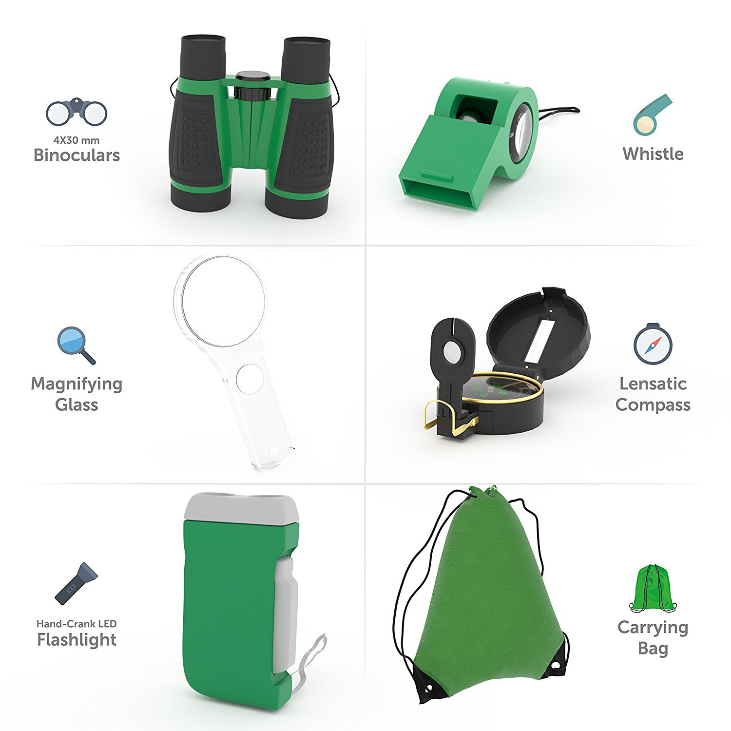 M.E.R.A. Outdoor Exploration Kit for Young Kids, 6-in-1 Set includes: Binoculars, Magnifying Glass, Whistle, Hand-Crank Flashlight, Lensatic Compass, Backpack, Great Educational Gift Set for Camping,