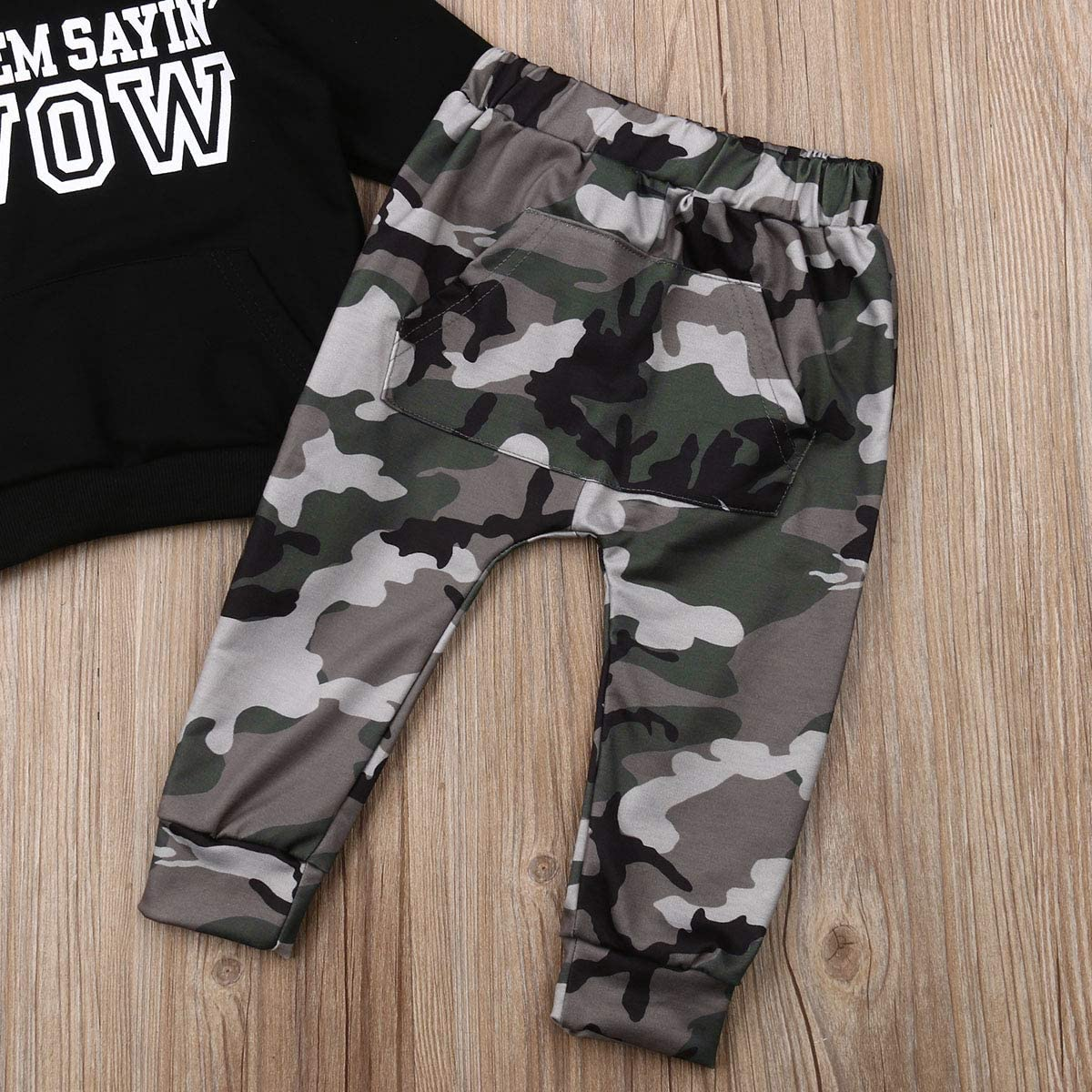 Kaipiclos 2Pc Toddler Baby Boy Sweatshirt Camouflage Pants Suit Hooded Long Sleeve Hip Hop Tops Fall Outfits Clothes Set