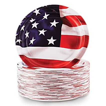 80 pk Liberty Patriotic Paper Plates 10.25u0026quot; Dinner July 4th American Flag Independence Star u0026  sc 1 st  m.amazon.com & Amazon.com: 80 pk Liberty Patriotic Paper Plates 10.25
