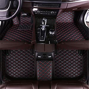 Muchkey car Floor Mats fit for Volkswagen Jetta 2013-2019 Full Coverage All Weather Protection Non-Slip Leather Floor Liners Black-Red