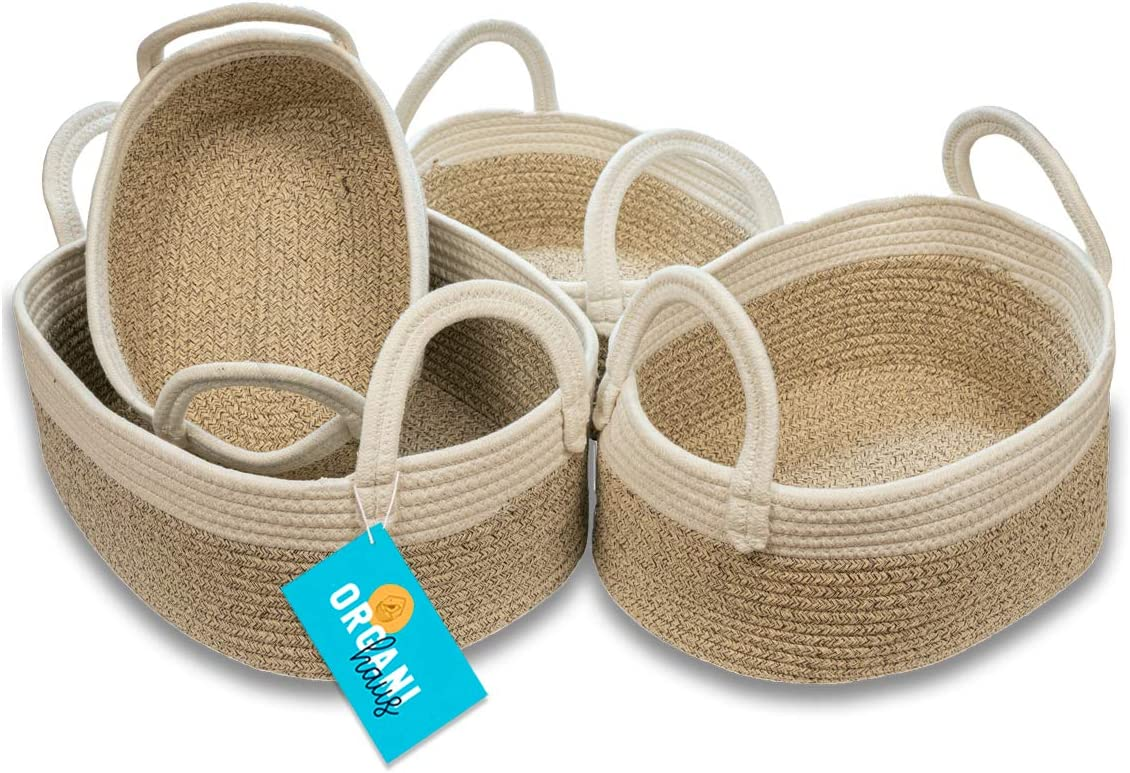 OrganiHaus Cotton Rope Woven Baskets for Storage, Set of 4, Modern Home Decor for Nursery Room Toys, Bath Toiletries and Supplies, or Closet Organizing, Strong Handles - Brown/Off-White