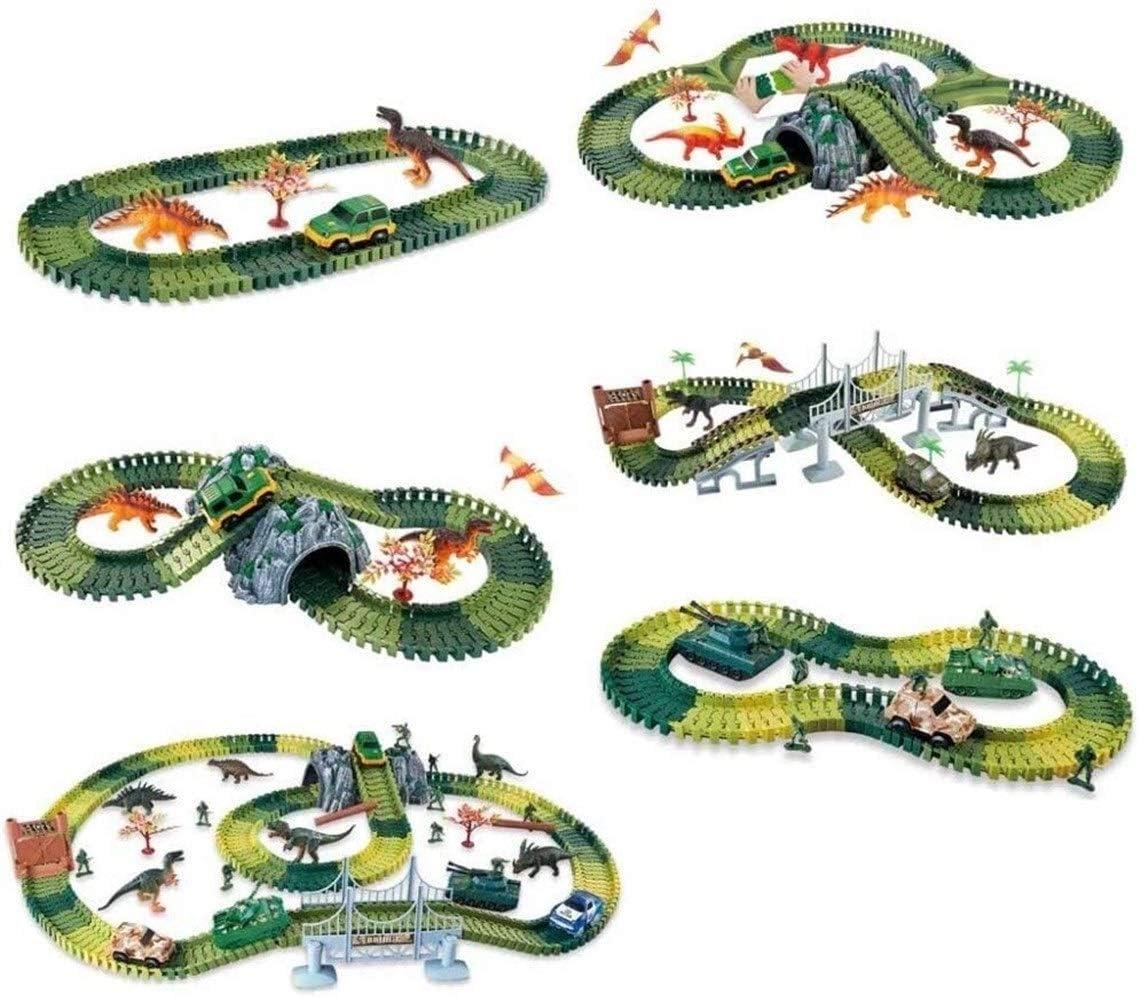 FGH QPLKKMOI Coche de Carreras de construcción de vías de Bloques educativos del Sistema del Juguete, Luz del Coche Grande Aventura Boy Presente Montado (Color : C) E