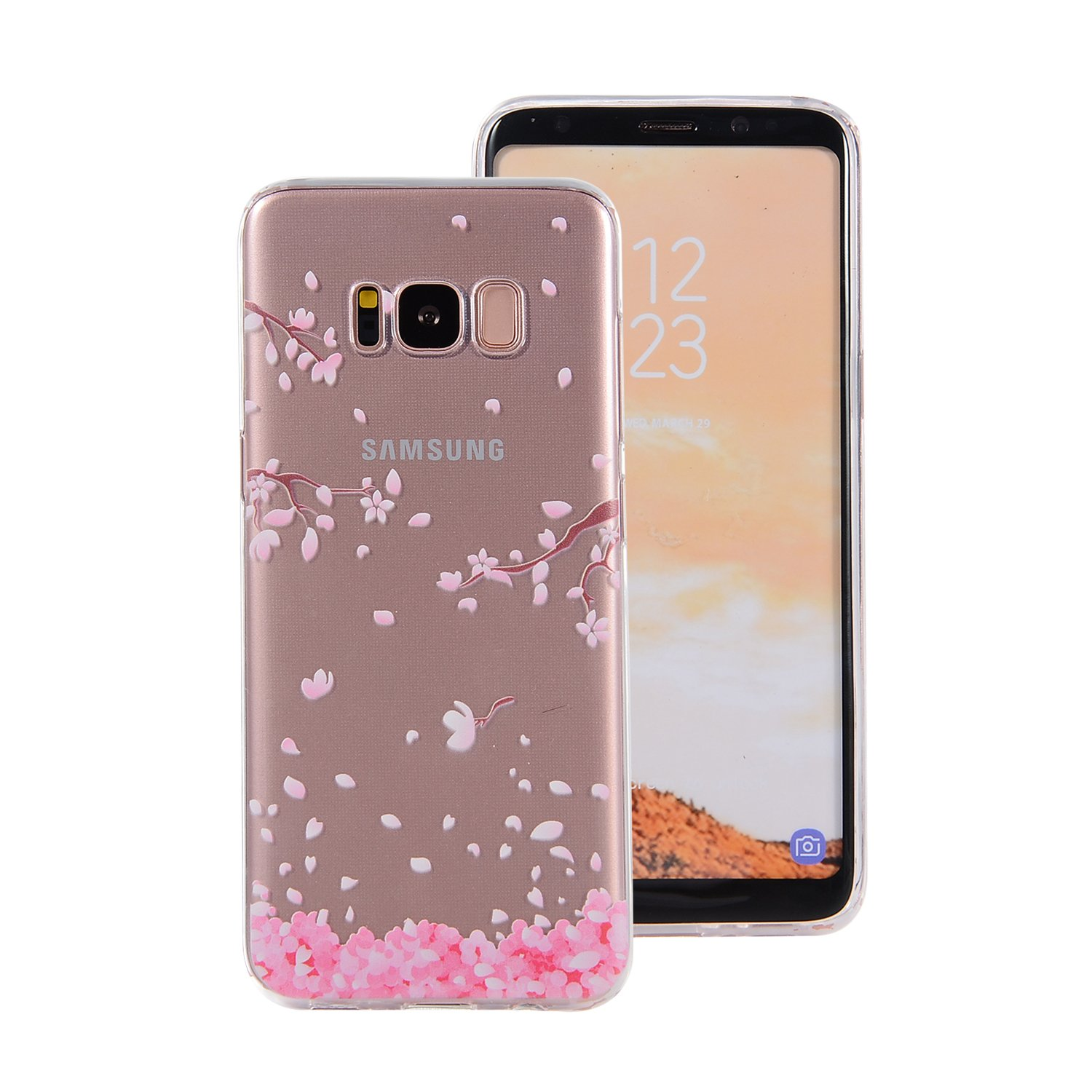 Protective Case Samsung Galaxy S8, Samsung Galaxy S8 Phone Case, Gostyle Ultra Slim Drawing Pattern Clear Soft Silicone TPU Rubber Shock Absorption Back Cover(Pink Cherry Blossoms)