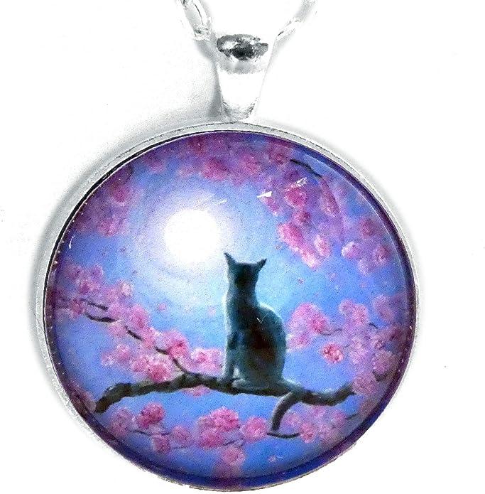 Laura Milnor Iverson Tuxedo Cat in Golden Cherry Blossoms Handmade Art Pendant