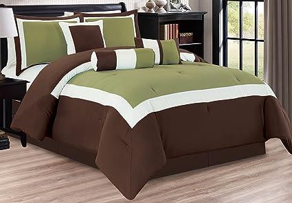 7 Piece Oversize SAGE GREEN / DARK BROWN / WHITE Color Block Comforter set  106\