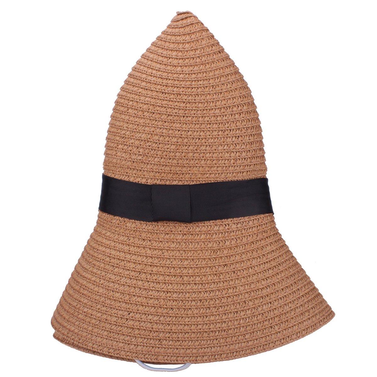 YOPINDO Sombrero de paja para mujer UPF 50+ Big Brim Sombrero de playa  plegable Summer 082d7bdc420e