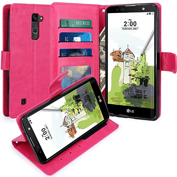 Tempered Glass For Lg Stylus 2 K520 New Leather Flip Book Wallet Phone Case Cell Phones & Accessories