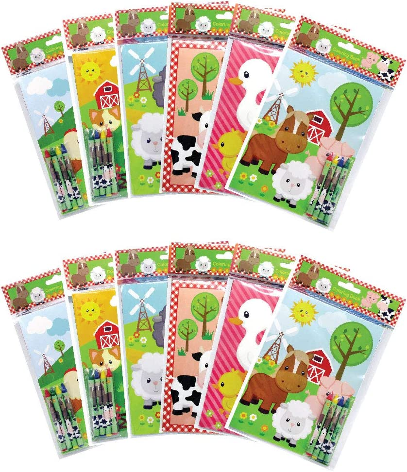 - Amazon.com: Farm Animals Coloring Books With Crayons Party Favors