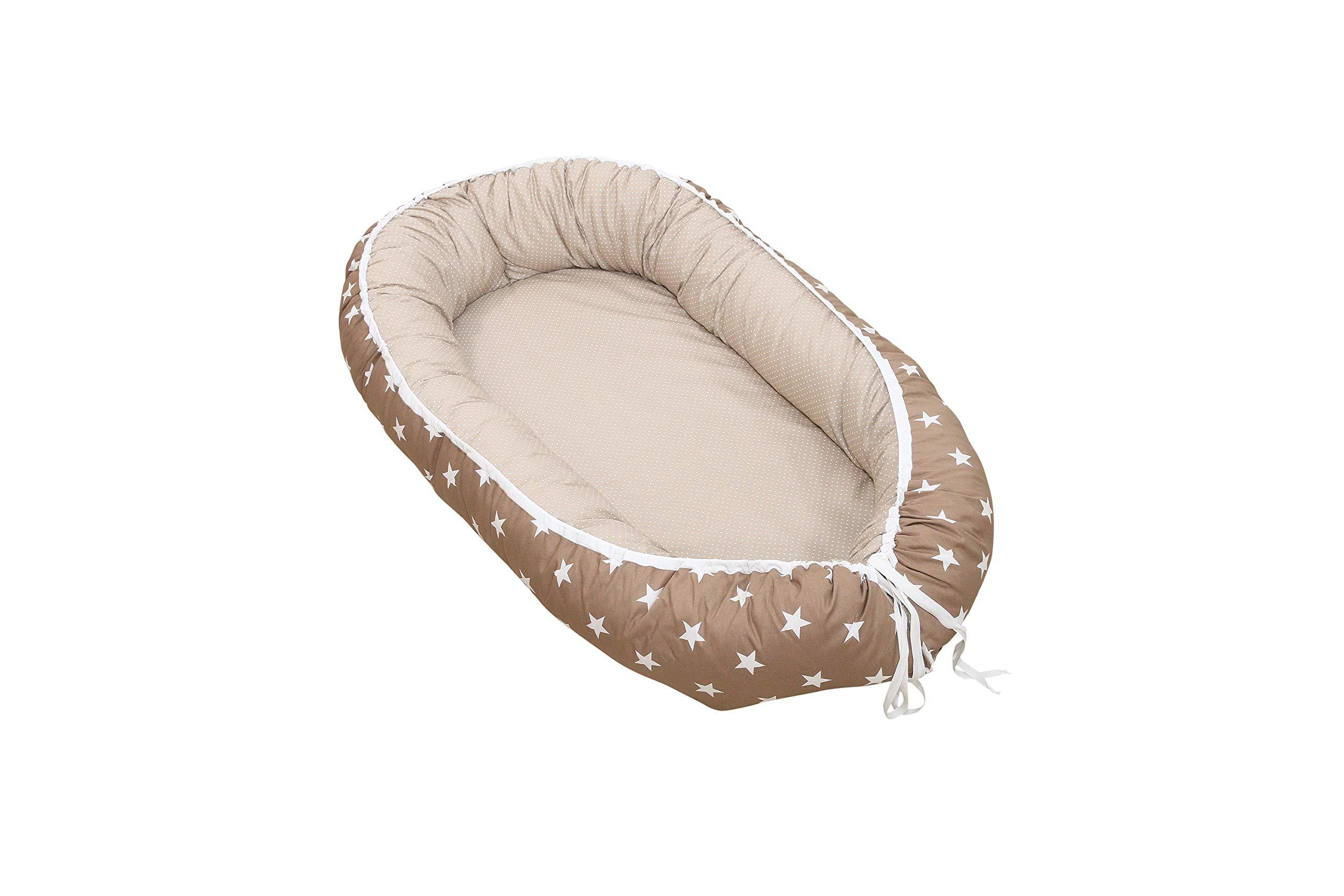 Soft Cotton Baby Lounger by ULLENBOOM   Stars/Polka Dots   Newborn Snuggle Nest   22'' x 37'' - Unisex Sand/Beige by ULLENBOOM