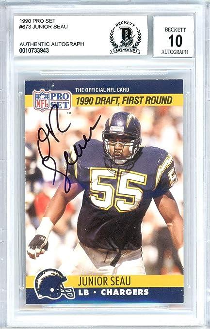 d04985a1 Junior Seau Autographed 1990 Pro Set Rookie Card Autographed #673 ...