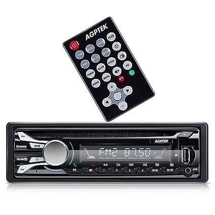 AGPTEK- Autoradio de coche (AM/ FM/ CD/ Bluetooth /USB/