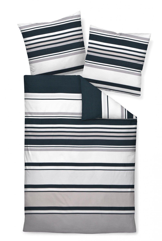 Janine Mako Satin Bettwäsche 3 teilig Bettbezug 240 x 220 cm Kopfkissenbezug 80 x 80 cm J. D. Streifen platin