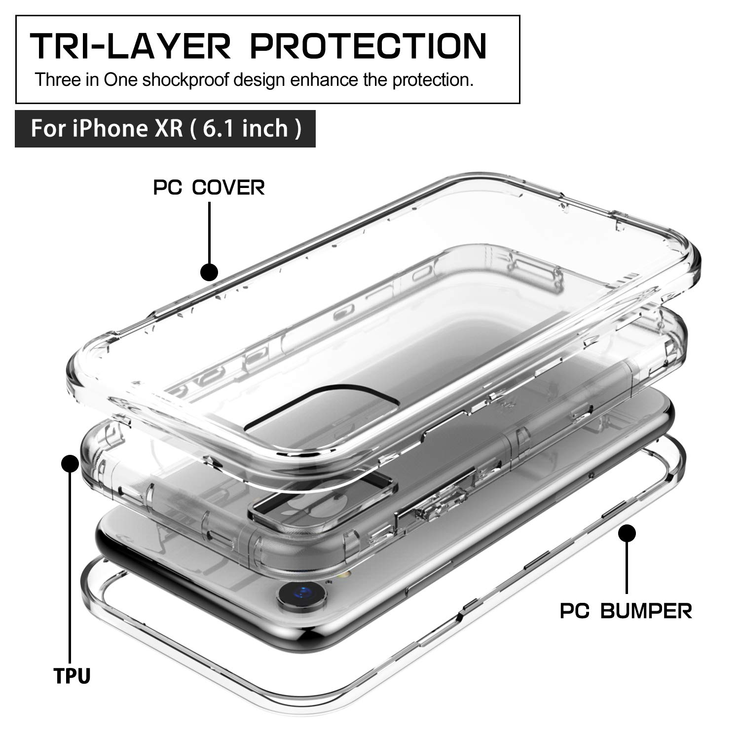 SKYLMW iPhone XR Case,Shockproof Three Layer Protection Hard Plastic & Soft TPU Sturdy Shockproof Armor High Impact Resistant Cover Case iPhone XR 2018(6.1 inch),Clear