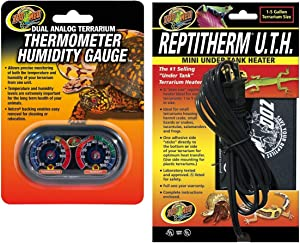 Zoo Med Economy Analog Dual Thermometer and Humidity Gauge, 6 x 4 and Repti Therm Under Tank Heater