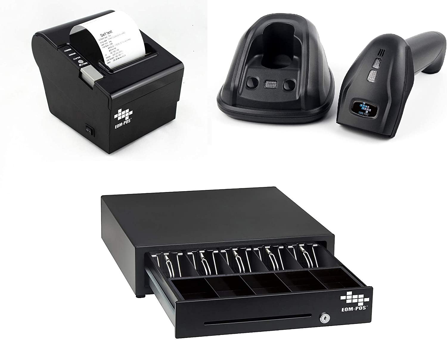 EOM-POS Heavy Duty Cash Register Drawer + Thermal Receipt Printer (80mm) + Barcode Scanner (Cordless) [Black] NOT for Square