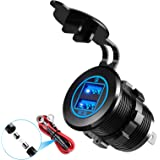 YONHAN 36W Quick Charge 3.0 Dual USB Car Charger Socket, Metal Waterproof 12V USB Outlet with Blue LED & 10A Fuse for 12V/24V