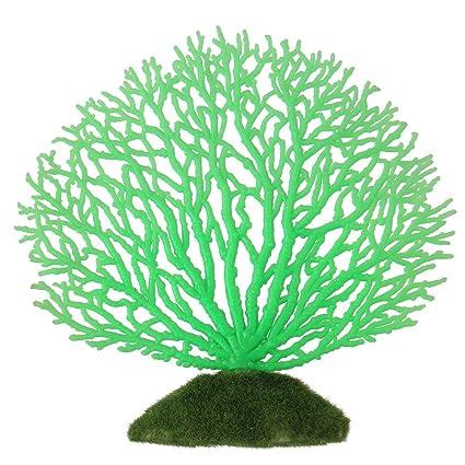 Ornamento Artificial de Coral Franja Coral Planta Ornamento de Silicona brilante Decoración Artificial para Acuario Tanque