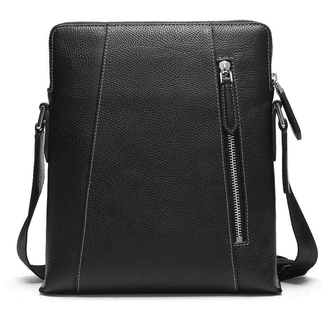 fdc6fcc68027 Amazon.com  BABAMA Men Shoulder Bag Crossbody Purse Genuine Leather  Messenger Bags Briefcase Black-1  Clothing