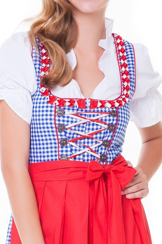 3tlg blau-rot in verschiedenen Gr/ö/ßen erh/ältlich Alpenm/ärchen Trachtenkleid Sch/ürze Bluse Dirndl-Set